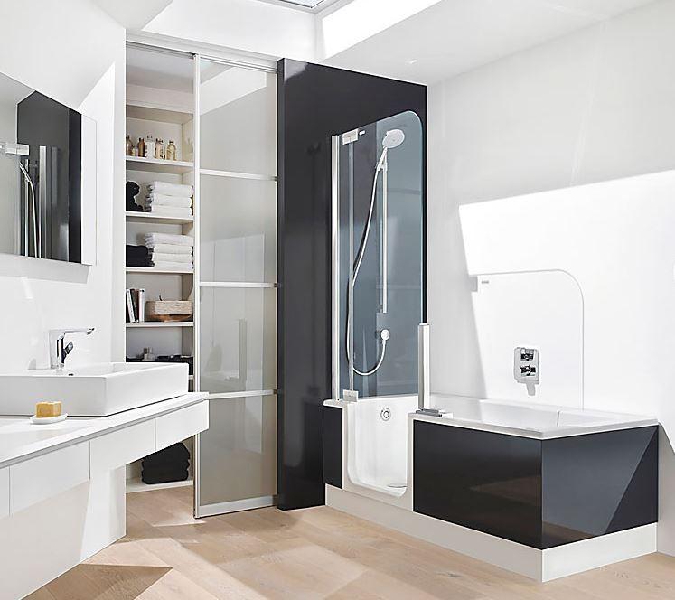 badekar med brus Hjælpemiddelbasen   Twinline 2   badekar/bruser med lav  badekar med brus