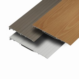 Wooden colored threshold ramps in aluminum