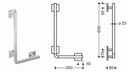 HEWI L-shaped support rail, (950-series)