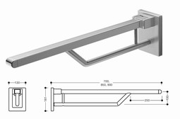 HEWI Hinged support rail (950-series)