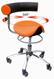 Sanus saddle chair with adjustable armrest