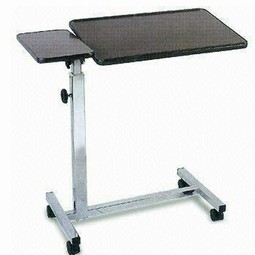 Bed table with wheels tilt and fixed plate