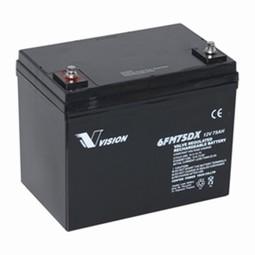 Vision Blybatteri 12 volt 75Ah til Elscooter & kørestole