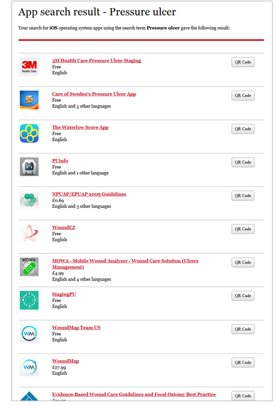 List with apps from App Store matching the search term pressure ulcer