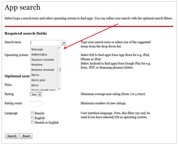AssistData app search page displaying drop down list at the search input field